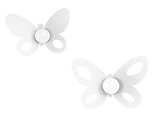 Arts et métiers-Lot 2 Crochets Porte-Manteau Mur Papillon Butterfly Blanc-24 x 16 x 21 x 14 cm