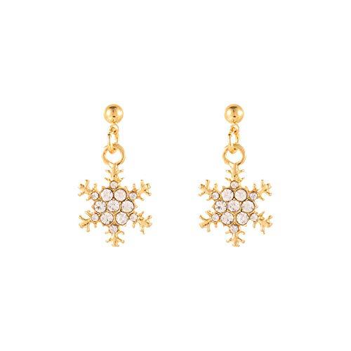 Aguja de plata Temperamento coreano Pendientes de botn de copo de nieve de estrella de seis puntas simples Pendientes de Navidad de metal de diamantes de moda Flash