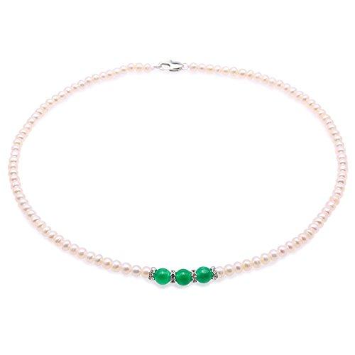 jyx perlenkette weiß Zarte 4,5 mm weiß Pearl Choker Halskette mit malaiische Jade 40,6 cm