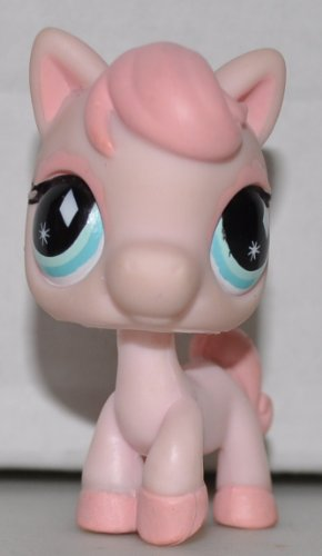 Horse #592 (No Saddle: Pink, blue eyes) Littlest Pet Shop (Retired) Collector Toy - LPS Collectible Replacement Single Figure - Loose (OOP Out of Package & Print)