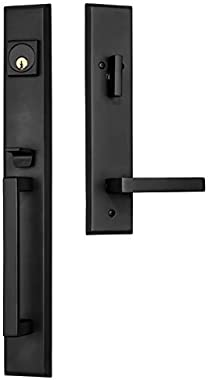 """Rockwell Premium Lumina Solid Brass Entry Door Handle Set with Delta Lever in Antique Black Finish for 5-1/2"""" Double Bore"""