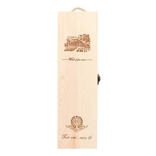 Caja de vino de madera - Caja de regalo de almacenamiento de madera para una sola botella de vino, con bisagras y caja de cierre para fiesta de cumpleaños, inauguración de la casa, boda, aniversario