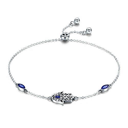 Pulsera de plata de ley 925 con cadena de mano de Fátima de la suerte, para mujer, circonita azul