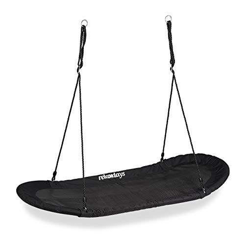 Relaxdays Nestschaukel XXL, Schaukelnest für Kinder & Erwachsene, 100kg, Mehrkindschaukel oval, 141,5 x 43,5 cm, schwarz