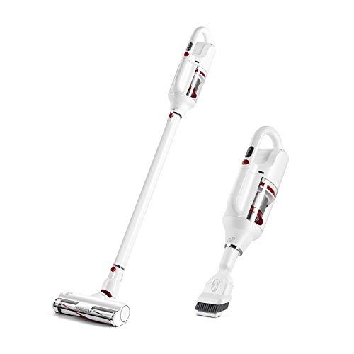PUPPYOO T10 Aspirador inalámbrico de 17.5 Kpa Potente succión portátil y Ligero para alfombras para Pisos Duros para Mascotas [Clase de eficiencia energética A+++] White