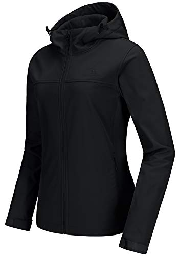 CAMEL CROWN Womens Fleece Lined Softshell Jacket Hooded Waterproof Windproof Lightweight Insulated Winbreaker Hiking Camping
