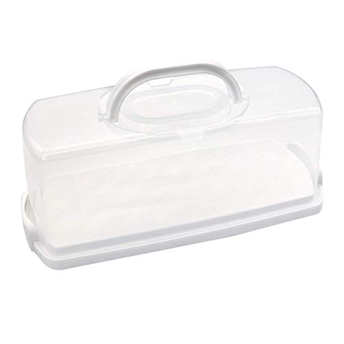 1Pc Portable Bread Box with Handle Transparent Lid Loaf Cake Storage Carrier for Pastries, Donuts, Bread Rolls, Buns or Baguettes