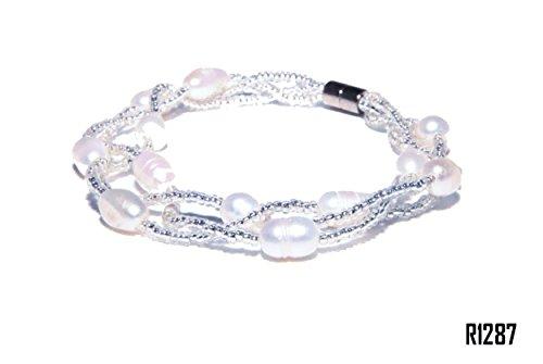 Enez Echt Süßwasser Zucht Perlenkette Armband Armkette 18cm Magnetverschluß R1287