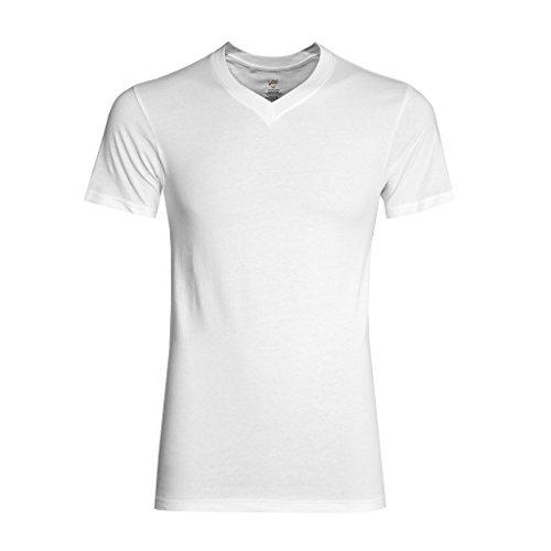 Watson's Herren Unterwäsche aus 100% Baumwolle, V-Ausschnitt, Weiß, Größe L