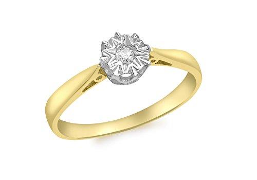 Carissima Gold Damen-Ring 9 kt (375) Gelbgold Rundschliff Diamant 54 (17.2)