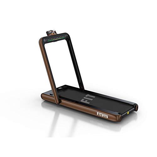Fitifito ST200 Edles Laufband Kaffeegold im Büro zuhause 1-12 km/h Bluetooth Fernbedienung komplett klappbar verstaubar mit Handyhalter Dualer Bildschirm