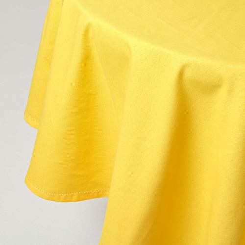 HOMESCAPES Nappe de Table Ronde, Linge de Table en Coton uni Jaune - 178 cm