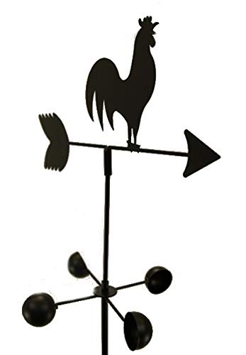 Weather Vane Rooster 6 Feet Tall Black Garden Mount Yard Decor