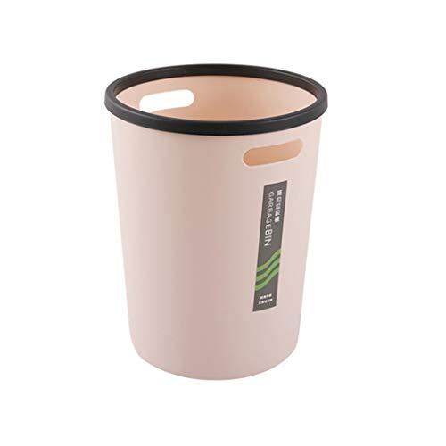 LYLY Papelera portátil de plástico sin tapa, anillo de prensa redondo en forma de barril, multicolor sellado, cesta de papel de desecho para el hogar, la oficina, la cocina (color: rosa, tamaño: L)