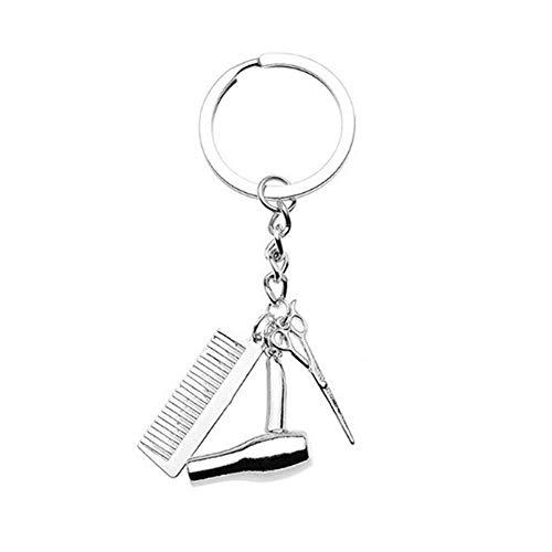 Peng Sheng Kreative Fönschere Kamm Schlüsselanhänger, Unisex, modischer Anhänger, einfache Schlüsselanhänger, Friseur-Geschenke, Legierung, silber, Einheitsgröße