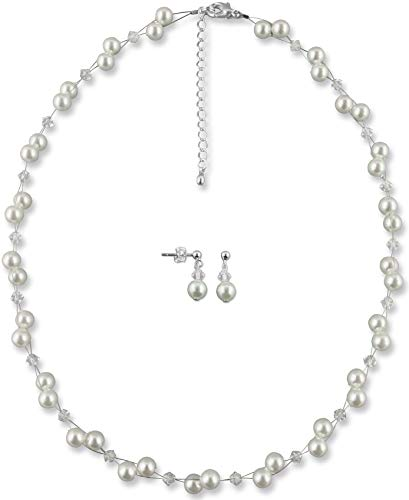 Rivelle Damen Brautschmuck Set creme Schmuckset Perlen Swarovski kristall Kette Collier Ohrringe Hochzeit Geschenkbox