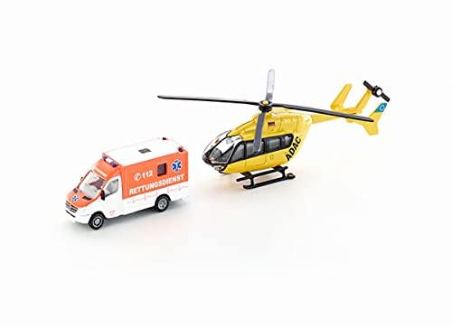 siku 1850 Set de vehículos de rescate con helicóptero y ambulancia, Neumáticos de goma, Rotores giratorios, 1:87, Metal/Plástico, Multicolor