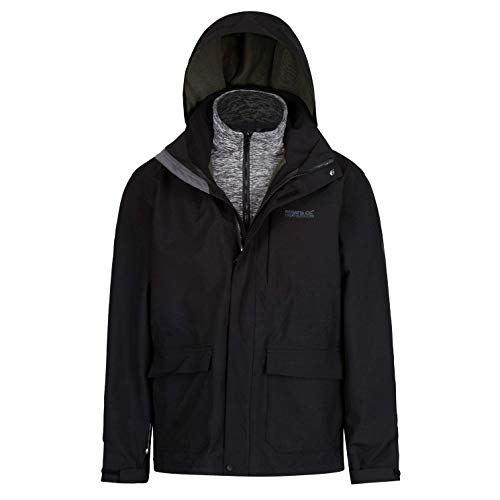 Regatta Herren Northton II 3 in 1 Waterproof and Breathable with Zip-Out Fleece Jacke, Schwarz, XL