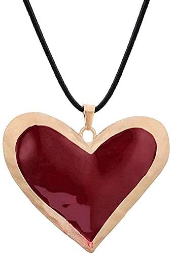 Aluyouqi Co.,ltd Collar Mujer Collar Hombre Mujer Collar con Colgante de Plata Glamour Corazón Rojo Colgante exagerado Collar para Mujer Moda Corazón Cadena de Cuero Grande Collar Largo Negro