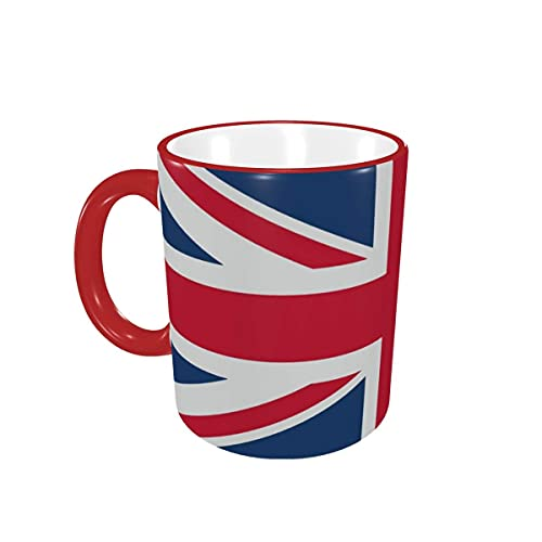 Taza de café Vintage Union Jack Bandera británica Tazas de café Tazas de cerámica con Asas para Bebidas Calientes - Cappuccino, Latte, Tea, Coffee Gifts 12 oz Red