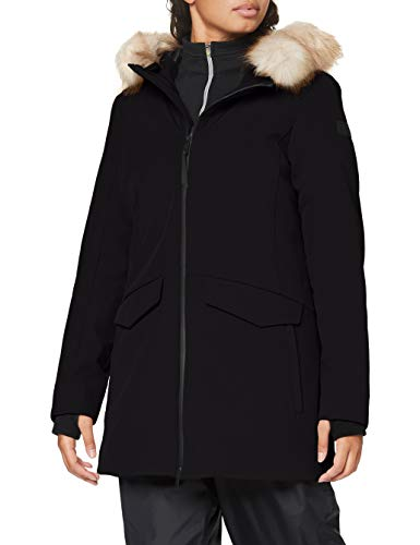 CMP Chaqueta Softshell con capucha Eco Fur para mujer, Mujer, Chaqueta, 30K3766, Negro , 46