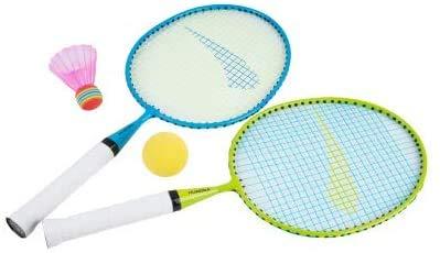 HUDORA 76046 - Mini Badminton Set mit verschiedenen Bällen (Einheitsgröße Sonderfarben)