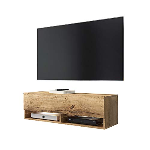 Wander – Fernsehschrank/Tv-Lowboard In Wotan Eiche Hängend Mit Led Rgb Und Farbwechselfunktion 140Cm