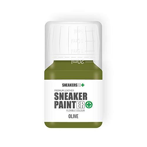 SNEAKERS ER SneakerPainter Premium - Pintura flexible para zapatos de piel (30 ml), color verde oliva