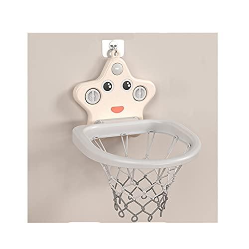 Tablero de Baloncesto Hoop de Baloncesto de la succión para niños, aro de Tiro Interior, Juguetes para bebés, Regalos de cumpleaños para niños y niñas (Color : Beige)