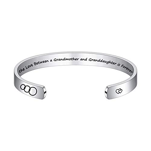 Grandmother Stainless Steel Positive Mantra Cuff Bangle Bracelets for Women,The Love Between a Grandmother and Granddaughter is Forever