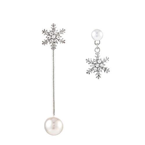 YZYZ Pendientes Largos Asimétricos De Perlas De Copo De Nieve De Aguja De Plata S925 Pendientes Largos De Temperamento Femenino