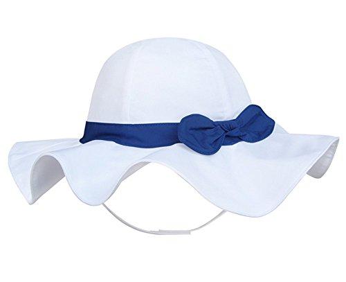 Pormow Frühjahr/Sommer Baumwolle Baby Mädchen Bowknot Sonnenhut/Beach Hut/Outdoor Hut (48cm/12-24m, Blau)