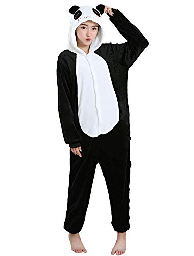 Pyjama, Tierkostüm, Cosplay, Karneval- und Halloween- Kostüme, unisex, Ganzkörper-Pyjama, Einhorn, Panda, Pinguin, Schwarz L