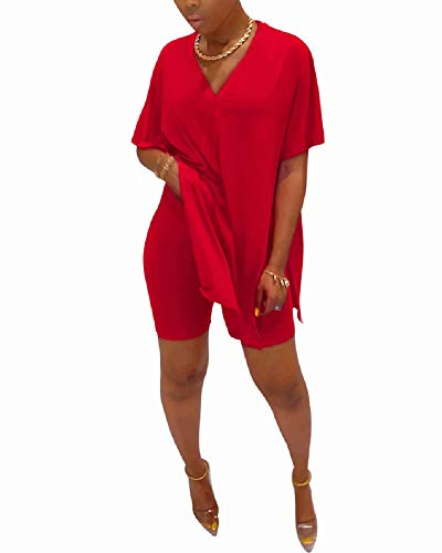 Women's Casual Oversized Two Piece Outfits Batwing Sleeve Split Caftan Poncho Tops Shorts Set Tracksuit Jumpsuit Red L
