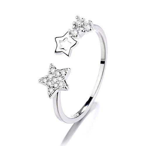 WWJJTT 925 Sterling Silver Ring Female Simple Meteor Tail Ring Opening Adjustable Temperament Star Ring-Star Ring_Adjustable Opening