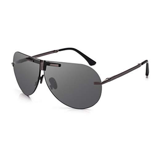 Yi-xir Gafas de sol polarizadas plegables para hombre y mujer, lentes de sol de conducción profundos, aleación de titanio débiles con caja de gafas de sol perfectas clásicas (color: gris oscuro)