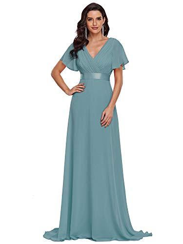 Ever-Pretty Damen Abendkleid Frau A-Linie Festliches Kleid V Ausschnitt Hochzeit lang Staubiges Blau 42
