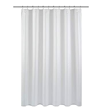 Barossa Design Fabric Shower Curtain Liner - Mold & Mildew Resistant, Washable, Non-Toxic, Antibacterial and Water Repellent, Weighted Hem Bottom - White, 70 x 72 inch for Bathroom