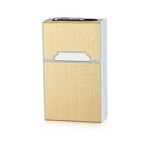 TWW Estuche para Cigarrillos Aleación De Aluminio Plástico 20 Palos Cigarrillo Grueso Carga USB Encendedor Ultrafino Y Ultraligero Encendedor Personalizable,Oro