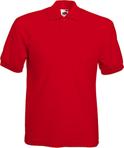 Fruit of the Loom SS025M-Polo Uomo, Rosso, Large