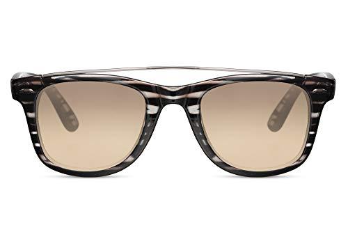 Cheapass Gafas de Sol Rectangular Clásicas Retro Vintage Cebra Gafas de sol con Claras Gradual Lente y Puente Metálico Protección UV400 Hombres Mujeres