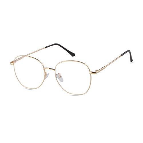 ADEWU Retro Nerdbrille Klassisches Rund Rahmen Blue Light Blocking Glasses Damen Herren (Anti Blaulicht-Gold)