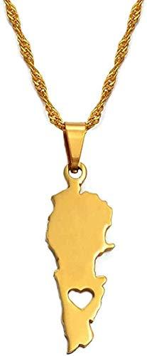 BEISUOSIBYW Co.,Ltd Collares Líbano Tarjeta de país Colgantes Collares Joyas de Color Dorado Líbano Tarjetas libanesas Regalos