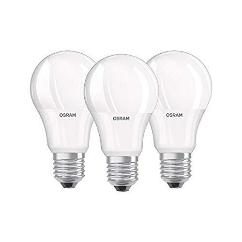 Osram LED Base Classic A Lampe, in Kolbenform mit E27-Sockel, nicht dimmbar, Ersetzt 60 Watt, Matt, Kaltweiß - 4000 Kelvin, 3er - Blister