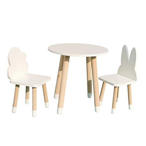Kid's Table and Chairs for Toddlers - Furniture for Kids Room - Modern Kids Chair And Round Table Set - Wood White Furniture Solid Beech - Cloud and Rabbit Chairs and Round Table