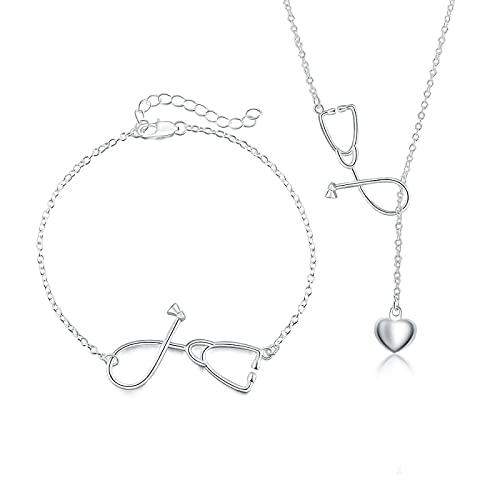 collar Conjunto De Joyas De Plata De Ley 925 Hermoso Collar De Corazón Pulsera Para Mujer Moda Boda Regalo De San Valentín