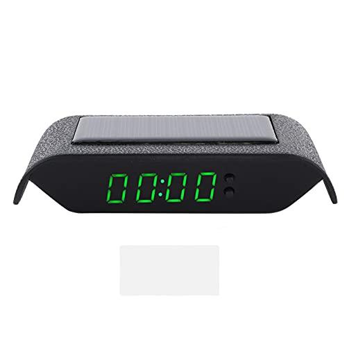 Blantye Coche Digital Clock Auto Truck Tiempo Solar Tiempo de Salida Temperatura LCD Pantalla de cableado Libre (luz Verde)
