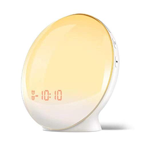 Wean Sunrise Sunset Simulation Night Lamp Wake Up - Reloj despertador (7 colores, 7 sonidos naturales, 4 alarmas, radio FM y cargador USB, 5 veces función)