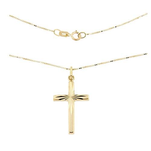Lucchetta - Gioielli Collana in Oro giallo Croce - Catenina oro giallo con pendente Croce Diamantata - CR2193