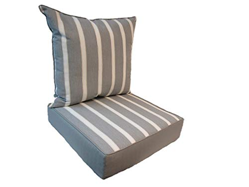 Suntastic Indoor/Outdoor Sun Boat Stripe Deep Seating Lounge Chair and Back Cushion Set for Patio Furniture
